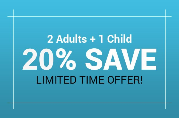 Adults Save 20% & 2nd Child Free