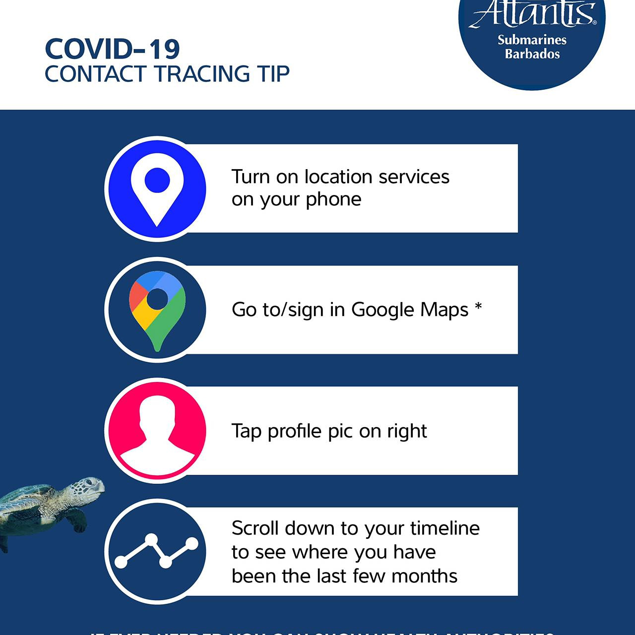 COVID-19 Contact Tracking Tip from Atlantis Submarine Barbados