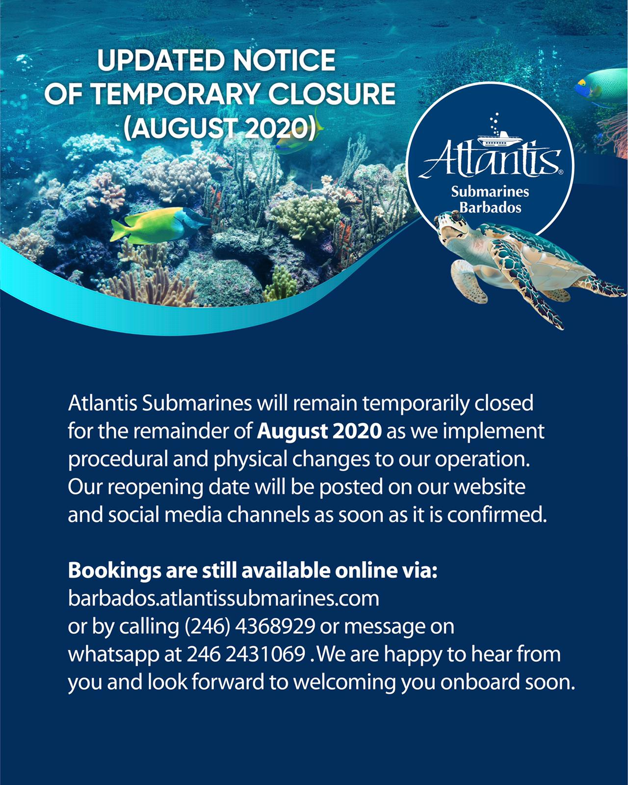 Updated Notice of Temporary Closure (August 2020)