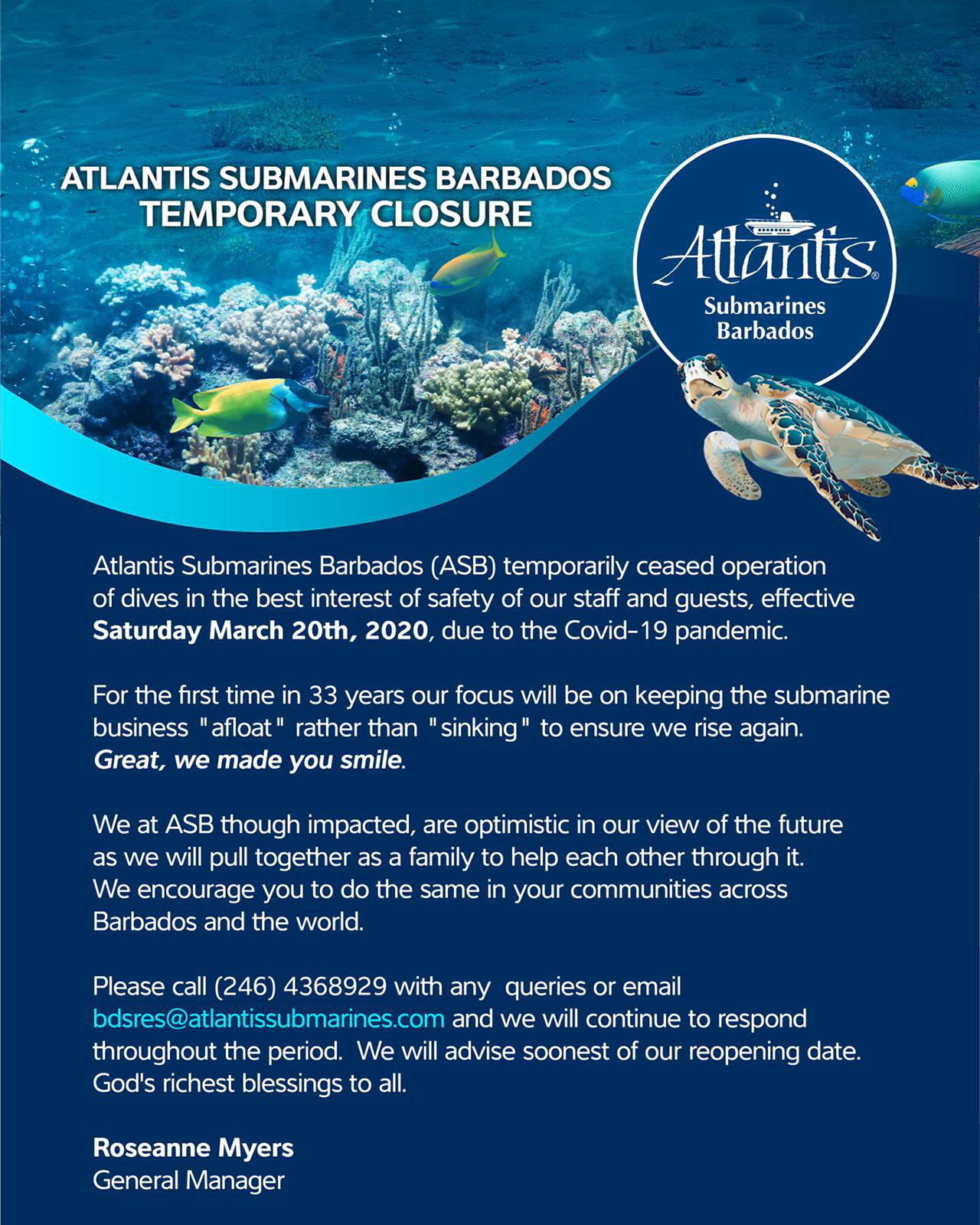 Atlantis Submarine Barbados Temporary Closure Amid COVID-19