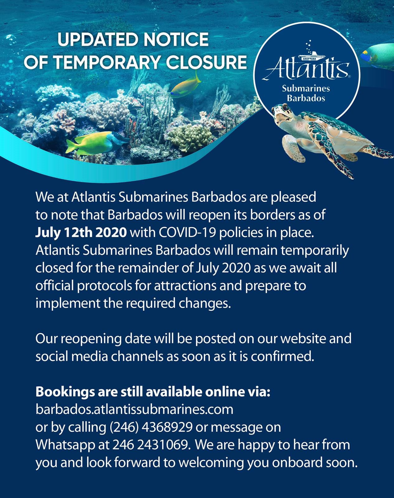 Updated Notice of Temporary Closure